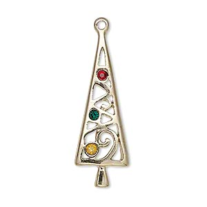 charm, enamel/gold-finished pewter (zinc-based alloy) and swarovski crystals, red/green/yellow, 34x11mm single-sided christmas tree. sold individually.