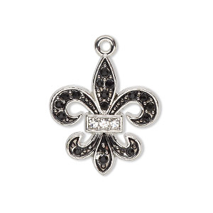 charm, glass / enamel / silver-finished pewter (zinc-based alloy), clear and black, 25x23mm single-sided fleur-de-lis. sold individually.