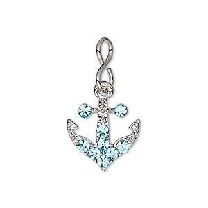 charm, glass rhinestone with imitation rhodium-plated brass and pewter (zinc-based alloy), aqua blue, 15.5x15mm single-sided anchor. sold individually.