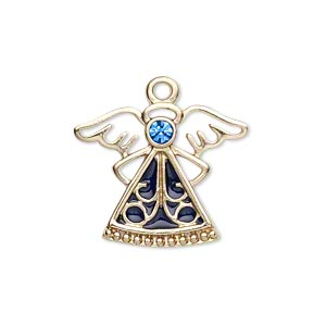 charm, gold-finished pewter (zinc-based alloy) / swarovski crystal rhinestone / enamel, sapphire and dark blue, 24x19mm single-sided angel. sold individually.
