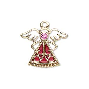 charm, gold-finished pewter (zinc-based alloy) / swarovski crystal rhinestone / enamel, rose and pink, 24x19mm single-sided angel. sold individually.