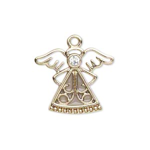 charm, gold-finished pewter (zinc-based alloy) / swarovski crystal rhinestone / enamel, crystal and clear, 24x19mm single-sided angel. sold individually.