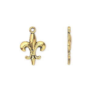 charm, gold-finished pewter (zinc-based alloy), 16x12mm single-sided fleur-de-lis. sold per pkg of 500.