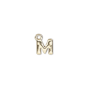 charm, gold-finished pewter (zinc-based alloy), 8x8mm alphabet letter m. sold per pkg of 2.