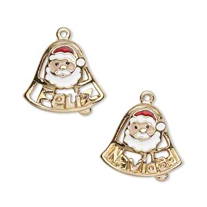 charm, gold-finished pewter (zinc-based alloy) and enamel, multicolored, 18x16mm single-sided santa claus bell with feliz and navidad. sold per pkg of 2.