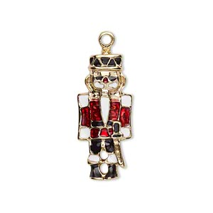 charm, gold-finished pewter (zinc-based alloy) and enamel, multicolored, 26x12mm single-sided nutcracker. sold per pkg of 2.
