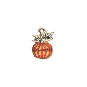 charm, gold-finished pewter (zinc-based alloy) and enamel, orange and green, 14x10mm single-sided pumpkin. sold individually.