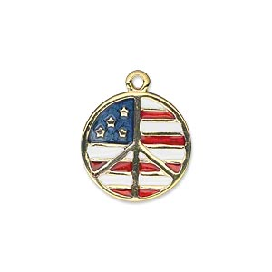 charm, gold-finished pewter (zinc-based alloy) and enamel, red / white / blue, 18mm flat round peace sign with usa flag design. sold individually.