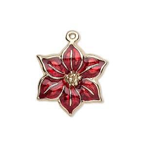 charm, gold-finished pewter (zinc-based alloy) and enamel, red, 22x22mm single-sided poinsettia. sold per pkg of 2.