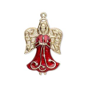 charm, gold-finished pewter (zinc-based alloy) and enamel, ruby red, 27x19mm single-sided angel. sold individually.