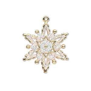 charm, gold-finished pewter (zinc-based alloy) and enamel, white, 23x22mm single-sided snowflake with glitter. sold individually.