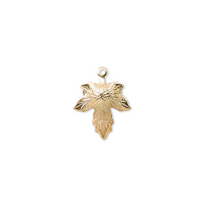 charm, gold-plated brass, 12mm maple leaf. sold per pkg of 50.