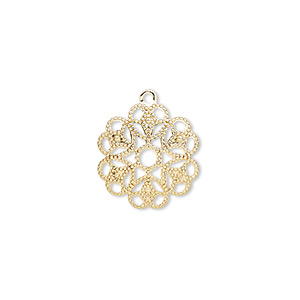 charm, gold-plated brass, 15x15mm flower. sold per pkg of 50.