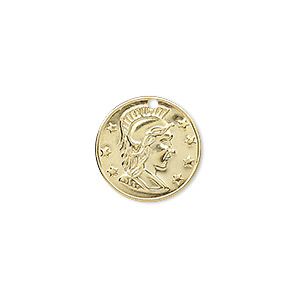 charm, gold-plated brass, 16mm roman coin replica. sold per pkg of 50.