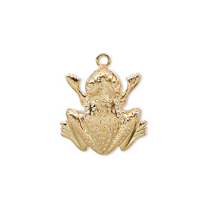 charm, gold-plated brass, 18x17mm frog. sold per pkg of 10.