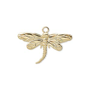 charm, gold-plated brass, 26x15mm single-sided dragonfly. sold per pkg of 100.