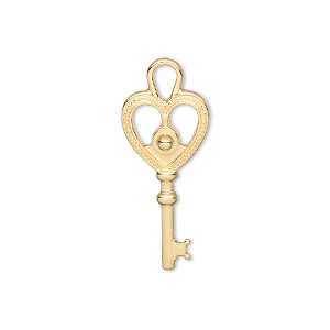 charm, gold-plated pewter (zinc-based alloy), 29x12mm double-sided key. sold per pkg of 12.