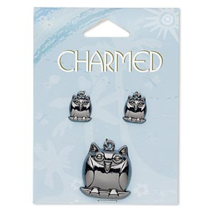 charm, gunmetal-finished pewter (zinc-based alloy), (1) 26x25mm owl and (2) 13x11mm owl. sold per 3-piece set.