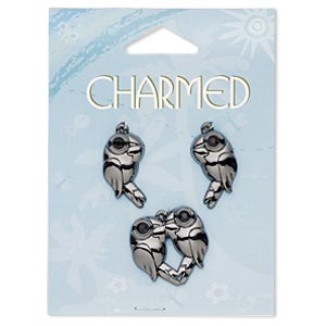 charm, gunmetal-finished pewter (zinc-based alloy) and glass rhinestones, black, 24x24mm parrot heart and 23x13mm right- and left-facing parrot. sold per 3-piece set.