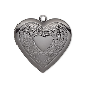 charm, gunmetal-plated brass, 29x27mm single-sided heart locket with stamped heart and flower design. sold per pkg of 2.