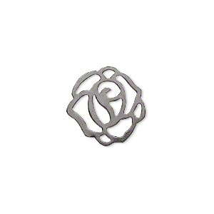 charm, gunmetal-plated steel, 16x16mm fancy flower with cutouts. sold per pkg of 50.
