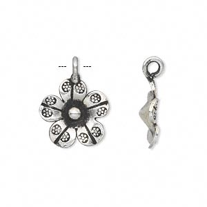 charm, hill tribes, antique silver-plated copper, 14x14mm single-sided flower. sold per pkg of 2.