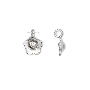 charm, hill tribes, antiqued fine silver, 10x9mm flower. sold per pkg of 2.