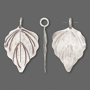 charm, hill tribes, antiqued fine silver, 26x19mm leaf. sold individually.