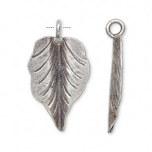 charm, hill tribes, antiqued fine silver, 27x18mm leaf. sold individually.