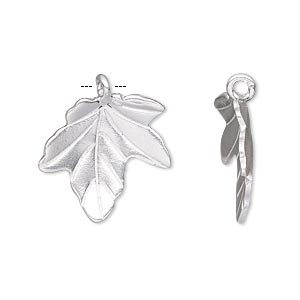 charm, hill tribes, silver-plated copper, 20x19mm single-sided leaf. sold individually.