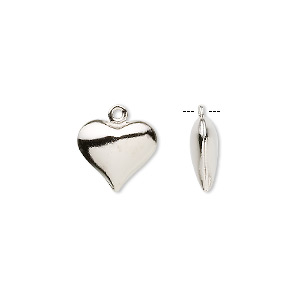 charm, imitation nickel-plated brass, 12x11mm double-sided puffed heart. sold per pkg of 100.