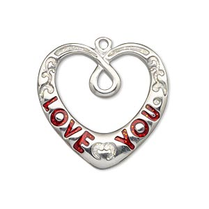 charm, imitation rhodium-finished pewter (zinc-based alloy) and enamel, transparent red and clear with glitter, 28x27mm single-sided open heart with love you and scroll design. sold individually.
