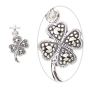 charm, marcasite (natural) and sterling silver, 14x10mm 4-leaf clover. sold individually.