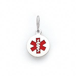 charm, medical alert id, 14ktw white gold and enamel, red, 10mm round. sold individually.