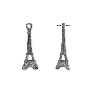 charm, patinaed copper, 19x7mm eiffel tower. sold per pkg of 4.