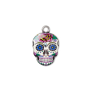 charm, resin and antique silver-plated pewter (zinc-based alloy), multicolored, 17.5x14mm single-sided dia de los muertos skull with flower design. sold individually.