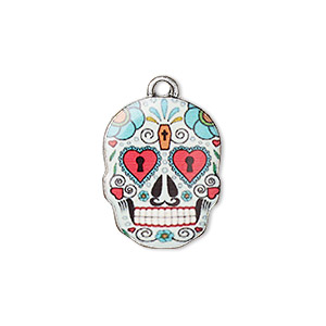 charm, resin and antique silver-plated pewter (zinc-based alloy), multicolored, 19x14.5mm single-sided dia de los muertos skull with heart and coffin design. sold individually.