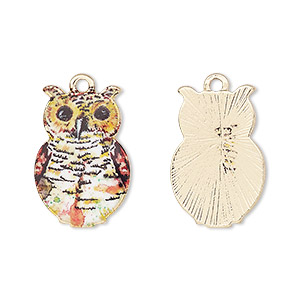 charm, resin and gold-finished pewter (zinc-based alloy), multicolored, 21x14mm single-sided owl. sold individually.