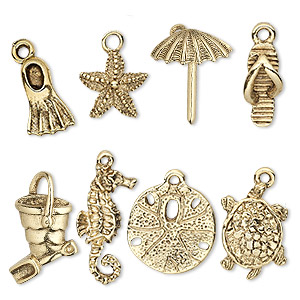 charm set, antique gold-plated pewter (tin-based alloy), 16.5x5.5mm-25x17mm sand and sea theme. sold per 8-piece set.