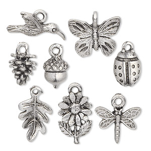 charm set, antiqued pewter (tin-based alloy), 13x7.5mm-17.5x15mm nature theme. sold per 8-piece set.