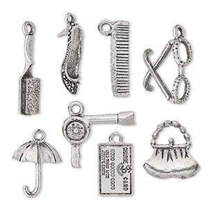 charm set, antiqued pewter (tin-based alloy), 16.5x5mm-22.5x17.5mm the ladies theme. sold per 8-piece set.