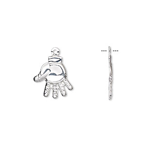 charm, silver-finished brass, 13x12mm single-sided hand. sold per pkg of 10.