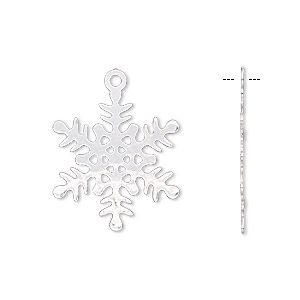 charm, silver-finished brass, 22x22mm double-sided snowflake. sold per pkg of 10.