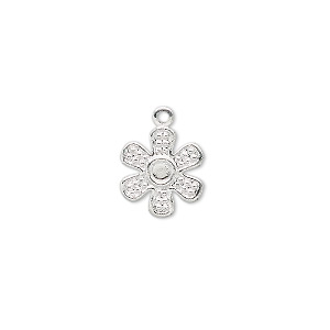 charm, silver-plated brass, 12x12mm flower. sold per pkg of 50.