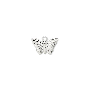 charm, silver-plated brass, 13x9mm butterfly. sold per pkg of 100.