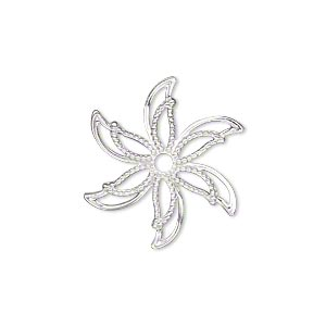 charm, silver-plated brass, 24x24mm single-sided fancy flower with cutouts. sold per pkg of 25.