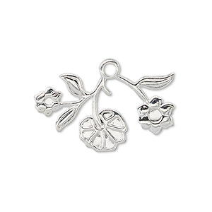 charm, silver-plated brass, 29x16mm flowers and stem. sold per pkg of 10.