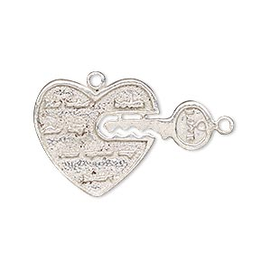 charm, silver-plated copper, 20x20mm heart and 18x8mm key. sold individually.