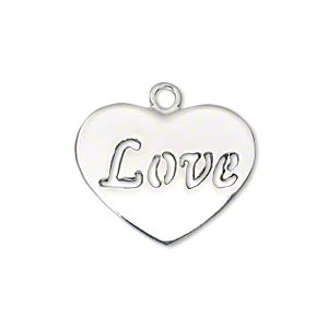 charm, silver-plated pewter (zinc-based alloy), 24x19mm flat heart with cutout love. sold per pkg of 2.