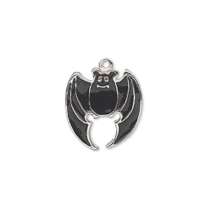 charm, silver-plated pewter (zinc-based alloy) and enamel, black, 17x16mm single-sided bat. sold individually.